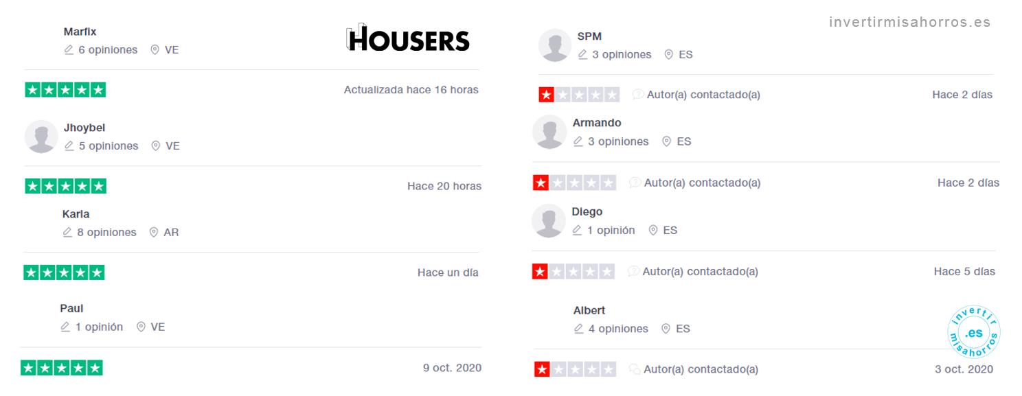 Ejemplo de opiniones de Housers en Trustpilot