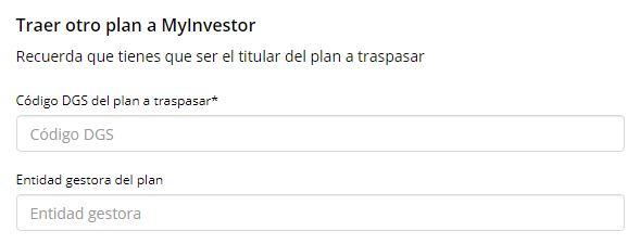 Formulario para el traspaso de planes de pensiones [MyInvestor]