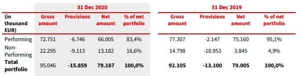 Estado cartera de préstamos Iute Credit 2020. Fuente: cuentas anuales